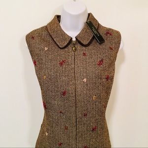 TALBOTS BROWN EMBROIDERED Wool Vest
